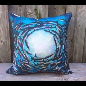 Handmade pillow, marine inspired, New